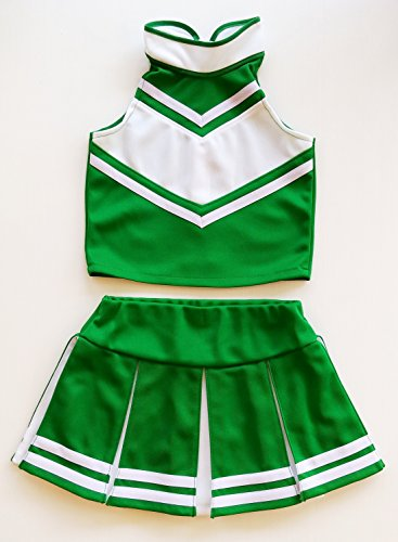 Kid Cheerleader Costumes (Little Girls' Cheerleader Cheerleading Outfit Uniform Costume Cosplay Green/White (L / 8-10))