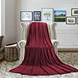 H.VERSAILTEX Twin Blankets for Bed- Lightweight All-Season luxurious Flannel Fabric Superior Softness Throw Blanket for Couch & Dorm, Pet-Friendly (90'' x 66'', Burgundy)