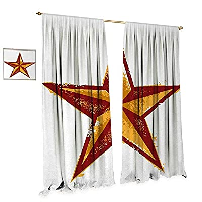 Primitive Country Waterproof Window Curtain Grunge Western Star Retro Style Worn Aged Retro Country Design Blackout Draperies for Bedroom Redwood Marigold