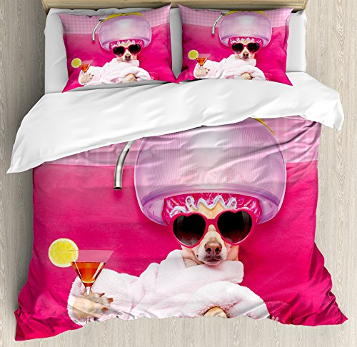Ambesonne Funny Duvet Cover Set King Size, Chihuahua Dog Relaxing and Lying in Wellness Spa Fashion Puppy Comic Print, Decorative 3 Piece Bedding Set with 2 Pillow Shams, Magenta Baby Pink