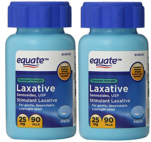 Equate Maximum Strength Laxative, Sennosides USP, 25mg, 90ct (2 Pack) by Equate