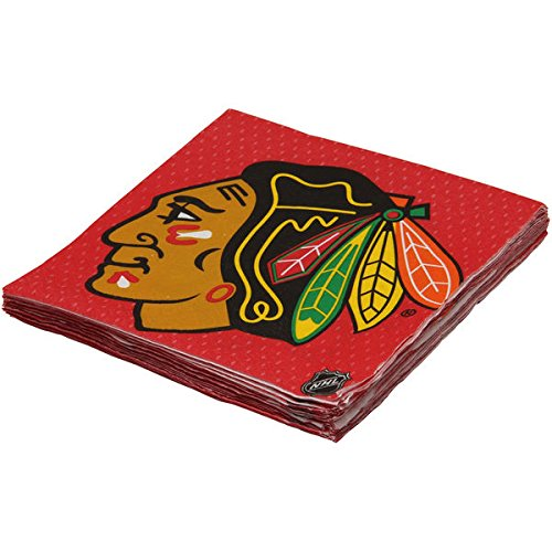 Chicago Blackhawks Luncheon Napkins Tableware, 16 Pieces, Made from Paper, by Amscan