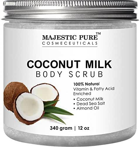 Coconut Milk Body Scrub from Majestic Pure – Anti Cellulite Scrub & Exfoliator, 12 Oz - Natural Skin Care Formula Helps with Stretch Marks, Eczema, Acne and Varicose Veins