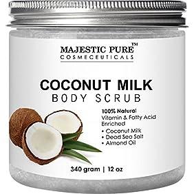 Coconut Milk Body Scrub from Majestic Pure - Anti Cellulite Scrub & Exfoliator, 12 Oz - Natural Skin Care Formula Helps with Stretch Marks, Eczema, Acne and Varicose Veins