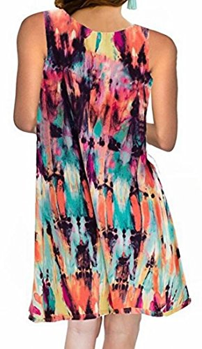 Domple Casual 2 with Round Women's Sleeveless Pockets Neck Printed Sundress qXOXrRwT