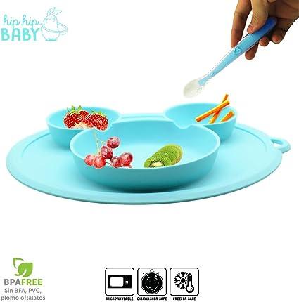 Sheuiossry Cuenco de silicona sin BPA con ventosa para beb/é resistente a los derrames con tapa vajilla ecol/ógica para beb/és y ni/ños peque/ños
