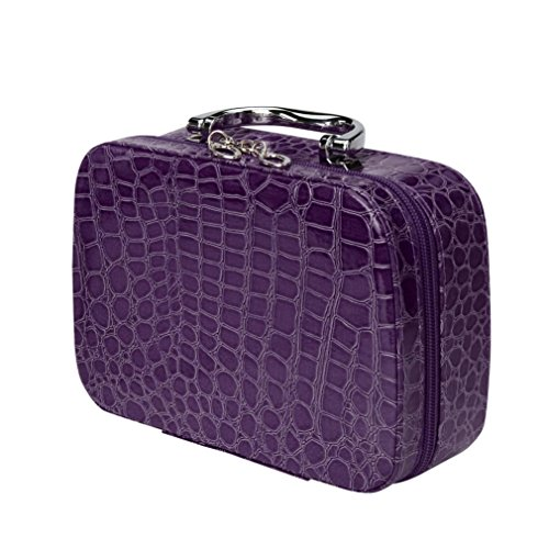 Cosmetic Bag ,SMTSMT Square Bow Stripe Cosmetic Bag (Black) (Purple) Bow Cosmetic Bag Handbag