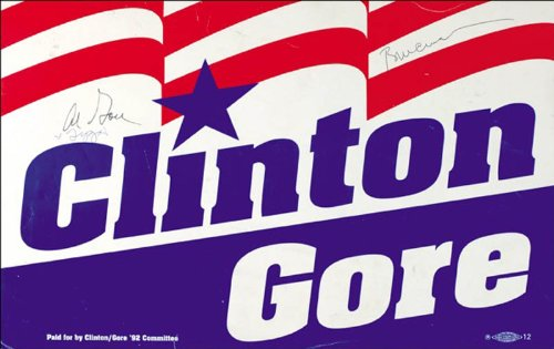 President William J. Bill Clinton - Poster Signed with co-signers