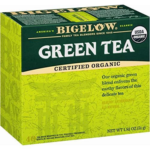 - Bigelow Organic Green Tea 40 Bags (Pack of 6), 240 Tea Bags Total. Organic Caffeinated Individual Green Tea Bags, for Hot Tea or Iced Tea, Drink Plain or Sweetened with Honey or Sugar