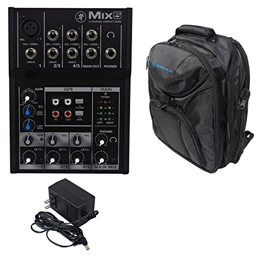 Mackie Mix5 Compact 5 Channel Mixer + Backpack Carry Bag by Mackie