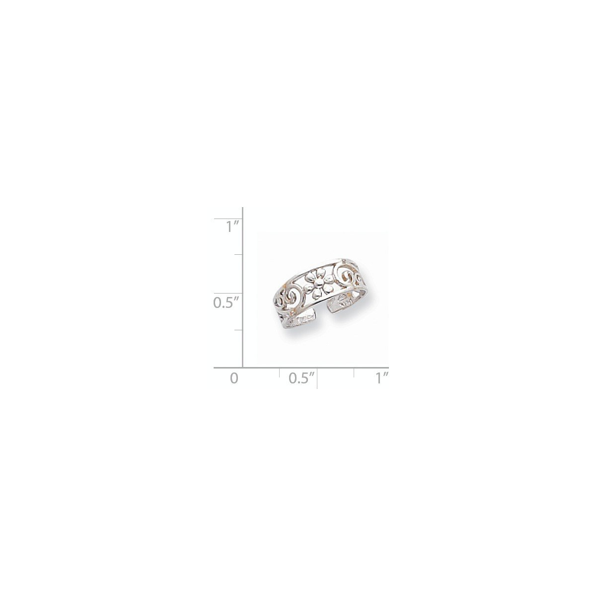 Jewels By Lux 14k White Gold Floral Toe Ring by Jewels By Lux (Image #2)
