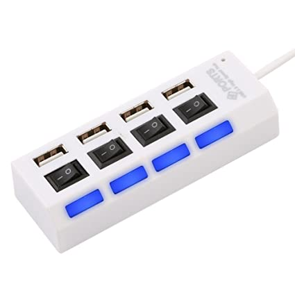Storin High Speed 4 Ports USB Hub 2.0 with Switches  White    1 Year Warranty Accessories   Peripherals