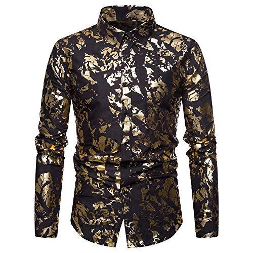 Longra Men's Shining Printed Slim Blouse Long Sleeve Winter T-Shirt Autumn Casual Fashion Tops(Black,L)