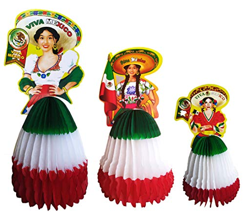 Yani's Gifts Set of 3 Mexican Centerpieces for Tables or Hanging, Mexican Women Paper Dolls with Sombreros, Honeycomb Wall Décor for Cinco De Mayo, Day of the Dead, Decoraciones Para Fiestas Mexicanas ()