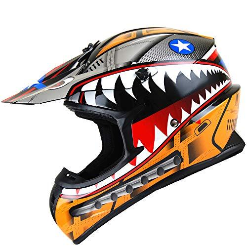 1Storm Adult Motocross Helmet BMX MX ATV Dirt Bike Downhill Mountain Bike Helmet Racing Style HKY_SC09S; Shark Orange (Dirt Bike Helmets Orange)