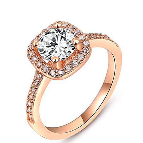Winter.Z Womens Jewelry Circular Bead Square Ring Diamond Rose Gold Ring Wedding (Diamond Ring Sale compare prices)