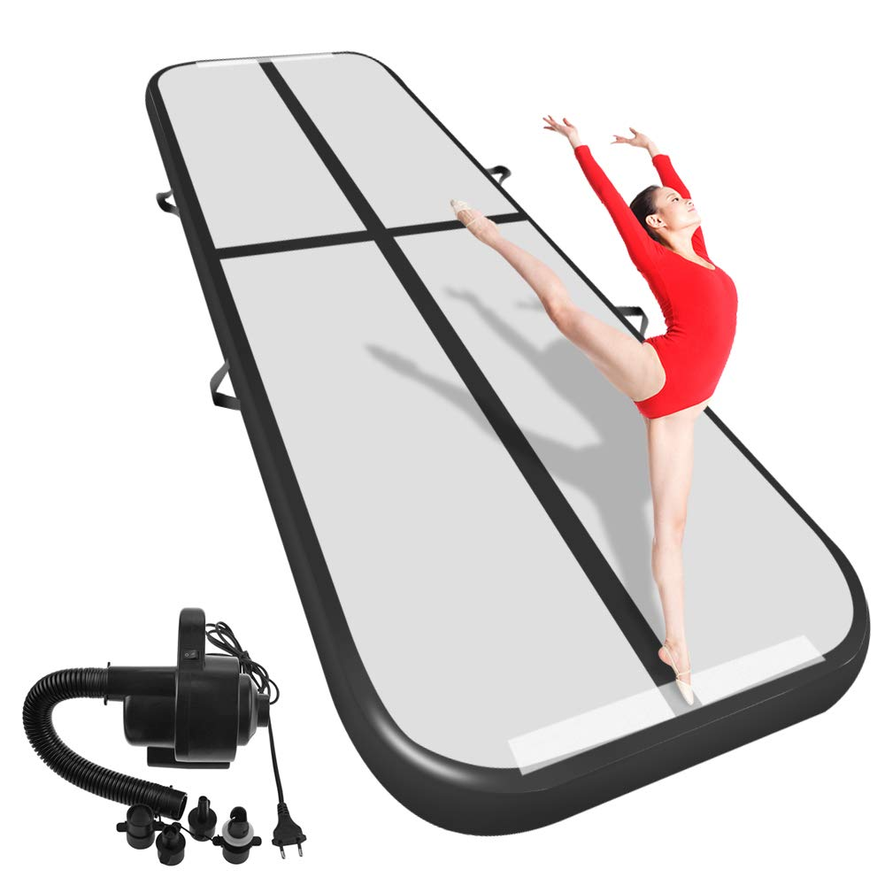Airacker 9.84ft/13.13ft/16.4ft/19.69ft/23ft/26ft/29ft/33ft/36.ft/39ft Air Track, Tumbling Mat, Inflatable Gymnastics Airtrack Mat, Air Floor Mat with Electric Air Pump for Training/Cheerleading