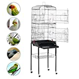 Yaheetech 62.2'' Large Rolling Bird Cage Parrot Finch Aviary Pet Perch w/Stand Black