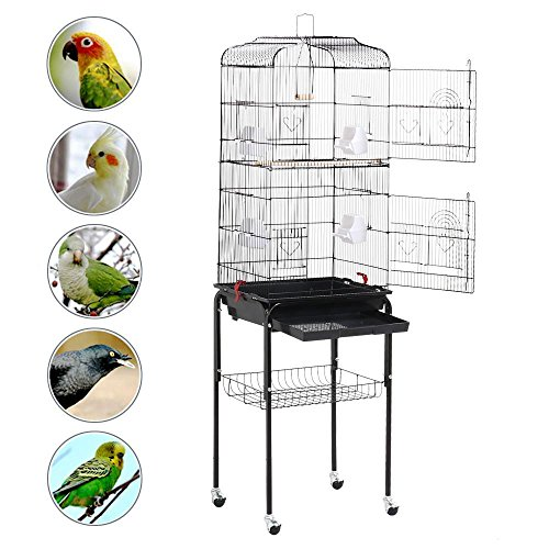 Yaheetech 62.2'' Large Rolling Bird Cage Parrot Finch Aviary Pet Perch w/Stand Black by Yaheetech
