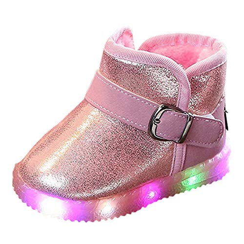 Todaies Kids Shoes Children Baby LED Light Up Luminous Sneakers Winter Warm Snow Boot