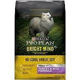 Purina Pro Plan BRIGHT MIND Adult 7+ Turkey & Rice Formula Senior Dry Food - (1) 4 lb. Bag