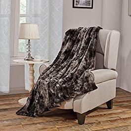 Faux Fur Bed Blanket Soft Cozy Warm Fluffy Variation Print Minky Fleece Throw Blanket, Grey, 130cm×150cm