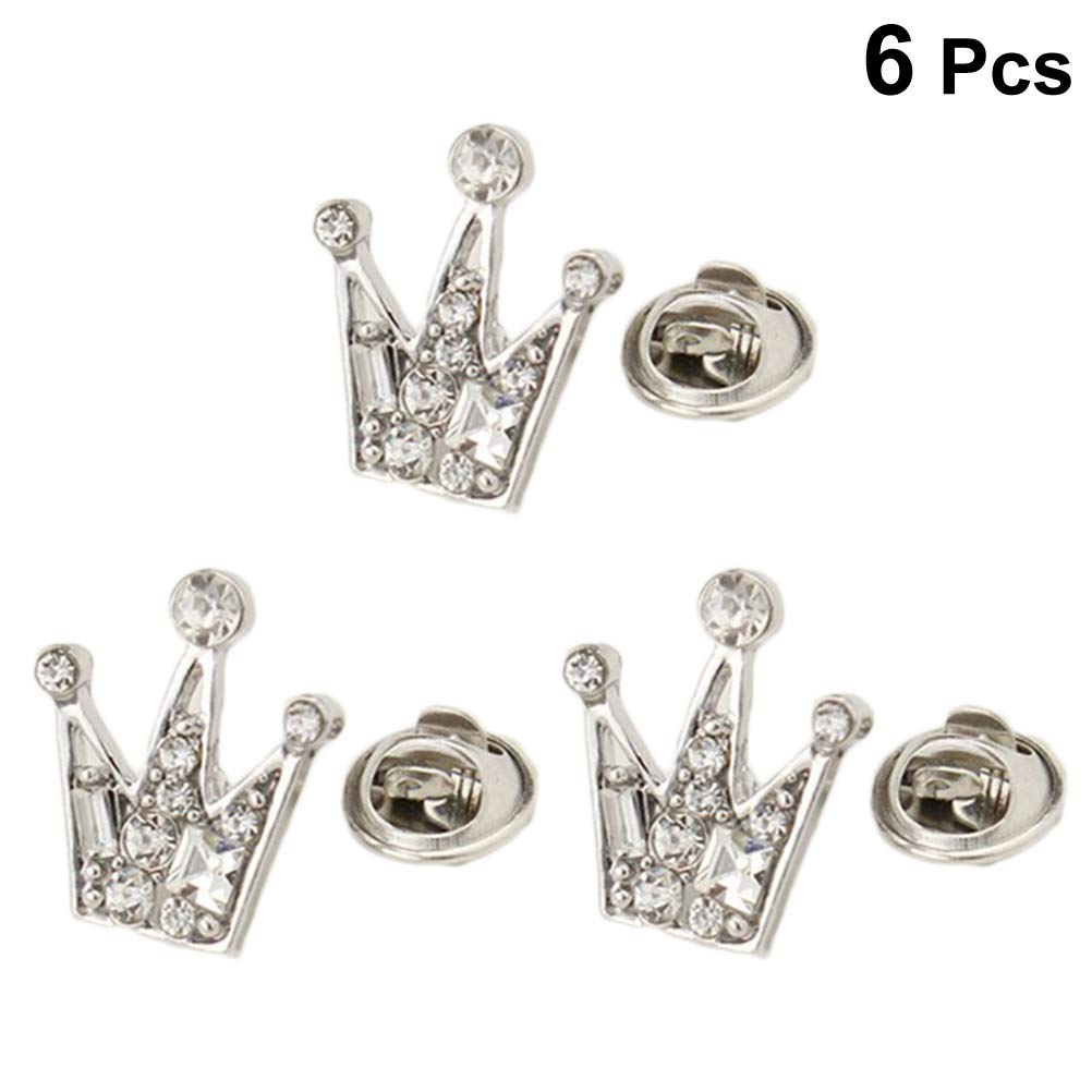 STOBOK 6 Pcs Brooches Mini Crown Breastpin Corsage Party Suit Collar Buckle Shirt Clip for Men Women Wedding Party Jewelry Accessories(Silver)