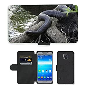 PU LEATHER case coque housse smartphone Flip bag Cover protection // M00109140 Serpiente de agua Serpiente Serpiente // Samsung Galaxy S5 S V SV i9600 (Not Fits S5 ACTIVE)