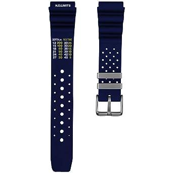 a1ab9738211 ZULUDIVER PU Rubber Watch Band Dive Blue
