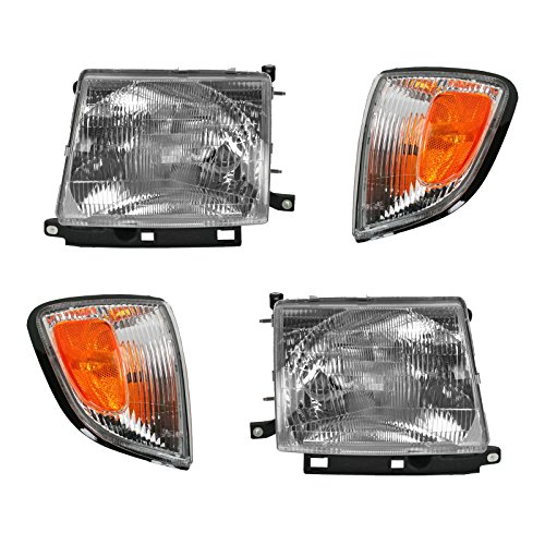 Headlights & Parking Corner Lights Left & Right Kit Set for 97-00 Tacoma 2WD (99 Toyota Tacoma Headlights)