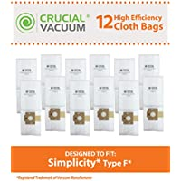 12 Replacements for Simplicity Type F Bags, Compatible With Part # A812, SF-6, RSL1, RSL1A, RSL1AC & RSL3C, by Think Crucial