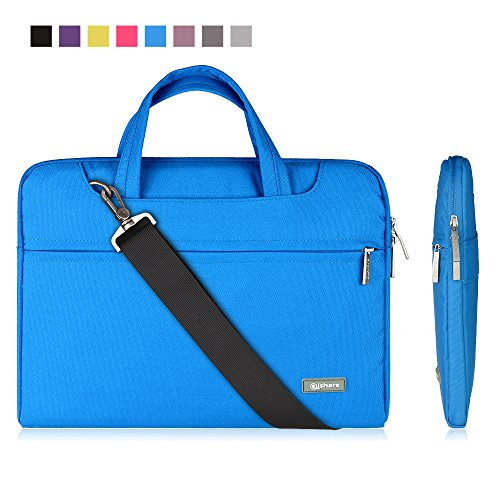 Qishare 13' 13.3' Blue Multi-functional Business Briefcase Sleeve /Messenger Case with Handle and Carrying Strap for Acer Asus Dell Fujitsu Lenovo Hp Samsung Sony Toshiba (Blue, 13.3'')