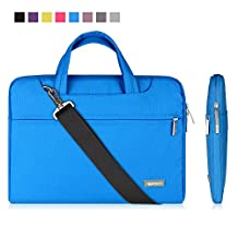 """Qishare 13"""" 13.3"""" Blue Tablet / Laptop / Chromebook / Macbook/ Ultrabook Multi-functional Business Briefcase Sleeve Pouch /Messenger Case Tote Bag Cover with Handle and Carrying Strap for Acer / Asus / Dell / Fujitsu / Lenovo / Hp / Samsung / Sony / Toshiba Computer, Suitable for Students/computer Worker/women/men/ladies/girls/boys/teens Design (Blue, 13.3'')"""