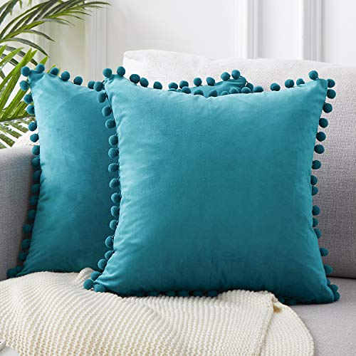 Top Finel Decorative Throw Pillow Covers 22 x 22 Inch Soft Particles Velvet Solid Cushion Covers with Pom-poms for Couch Bedroom Car 55 x 55 cm, Pack of 2, Teal Blue