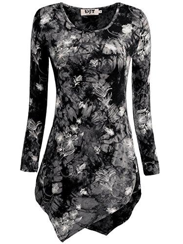 DJT Womens Tie Dyed Hankerchief Hemline Tunic Top Medium #17 Black Floral