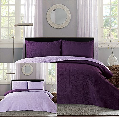 3-piece Microfiber Dark Purple / Lavender Reversible Bedspread Coverlet set Solid Bedding
