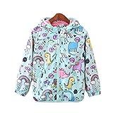 CX.AZUL Toddler Girls Cartoon Unicorn Print Spring Autumn Rain Coat Jacket Hoodies (4-5 Years, Multicolored 1)