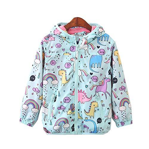 CX.AZUL Toddler Girls Cartoon Unicorn Print Spring Autumn Rain Coat Jacket Hoodies (3-4 Years, Multicolored 1)