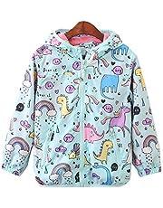 CX.AZUL Toddler Girls Cartoon Unicorn Spring Autumn Rain Coat Jacket Hoodies