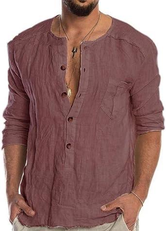 Camisas de algodón y Lino para Hombres Camisa Informal Holgada de Manga Larga con Cuello Redondo y Manga Larga: Amazon.es: Ropa y accesorios
