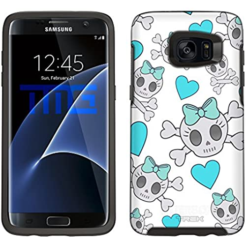 Skin Decal for Otterbox Symmetry Samsung Galaxy S7 Edge Case - Cutie Skulls Turquoise on White Sales