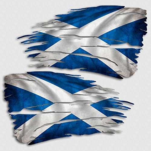 (Aftershock Decals Scotland Flag Tattered Decal Set Scottish Distressed Sticker)