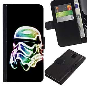 UNIQCASE - Samsung Galaxy Note 3 III N9000 N9002 N9005 - Neon Glow Trooper Mask - Cuero PU Delgado caso cubierta Shell Armor Funda Case Cover
