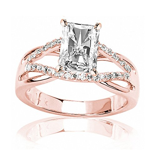 1.28 CTW GIA Certified 14K Rose Gold Infinity Twisting Split Shank Pave Set Round Diamonds Engagement Ring (1.01 Ct H Color VVS2 Clarity Radiant Cut Center) ()