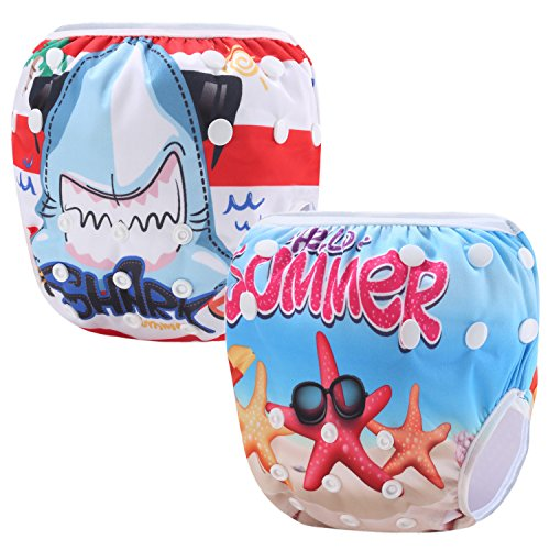 Martofbaby Baby Cute Swim Diapers Cartoon Cloth Nappy Washable Reusable Adjustable Pack of 2