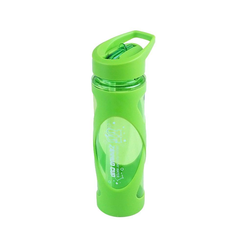 Bestonzon 580ml Tritan bottiglia borraccia in plastica con cannuccia a tenuta sport potabile contenitore (verde)