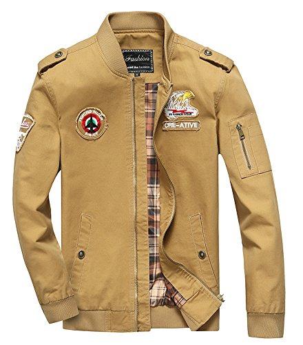Cheerun Men's Bomber Jacket Military Jacket Men Lightweight Warm Cotton Casual Jackets Thick Stand Collar Coat Khaki X-Large