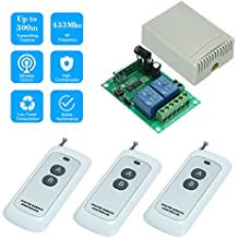 OWSOO 433MHz Wireless RF Switch DC 12V 2CH Universal 10A Relay Wireless Remote Control Switch Receiver Module and 3PCS 2 Key RF 433Mhz Transmitter Remote Controls 1527 Chip