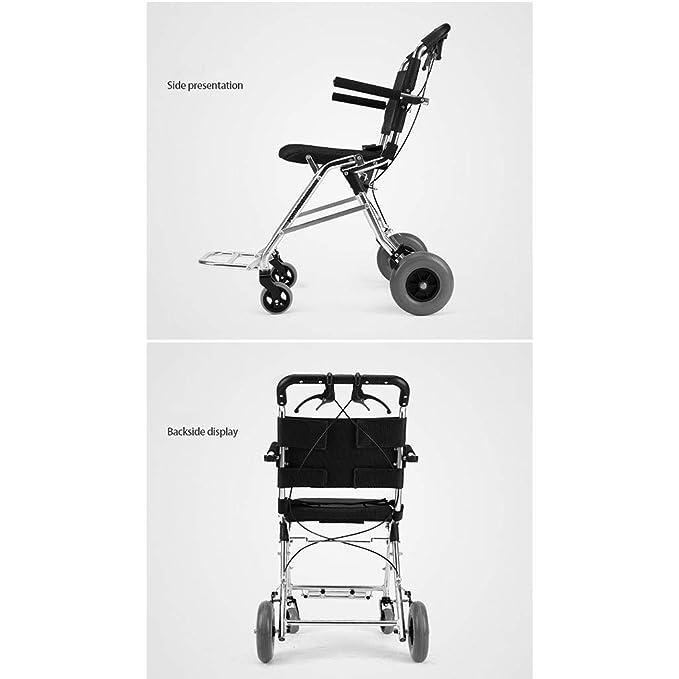Sillas de ruedas Manual Mayor Carro Plegable Carrito de Compras Viaje Regalo para Padres Puede soportar 100 kg (Color : Blue, Size : 53 * 65 * 88cm): ...