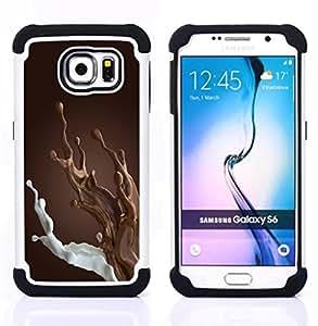 For Samsung Galaxy S6 G9200 - brown chocolate milk breakfast sweet Dual Layer caso de Shell HUELGA Impacto pata de cabra con im????genes gr????ficas Steam - Funny Shop -